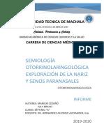 Semiologia Otorrino-exploracion Nariz y Senos Paransales