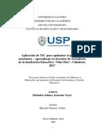"""Aplicación de TIC para optimizar el proceso de enseñanza – aprendizaje en docentes de secundaria de la Institución Educativa """"Niño Dios"""", Chimbote, 2017"""