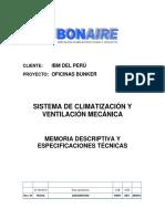 Memoria Descriptiva y Especificaciones HVAC Oficinas IBM