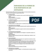 VARIABLES DERIVADAS DE LA FORMA DE ACTUACIÓN DE RESPUESTA DE LOS SUJETOS INVESTIGADOS