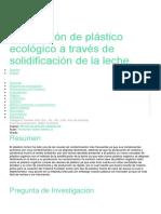 Fabricación de Plástico Ecológico a Través de Solidificación de La Leche