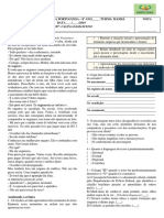 3ª Avaliação de Língua Portuguesa 8º Ano 2019