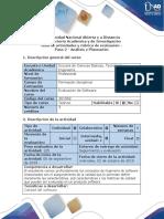 Guía de Actividades y Rúbrica de Evaluación - Paso 2 - Análisis y Planeación