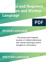 Varieties and Registers of Spoken and Written Language