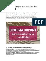 Sistema Dupont Para El Análisis de La Rentabilidad