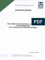 Auditoria Interna - Declaración de Propósito, Autoridad y Responsabilidad de La Unidad de Auditoria Interna