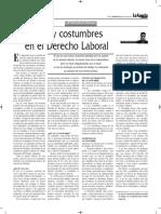 Usos y Costumbres en El Derecho Laboral - Autor José María Pacori Cari