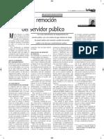 La Remoción Del Servidor Público - Autor José María Pacori Cari