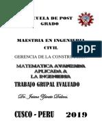 TRABAJO GRUPA MAESTRIA A2019 MATEMATICA AVANZADA APLICADA A LA INGENIERIA