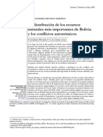 La distribución de los recursos naturales más importantes de Bolivia