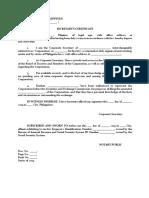 Secretary's Certificate of No Dispute Template