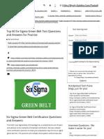 Top 60 Six Sigma Green Belt Test