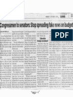 Philippine Star, Oct. 7, 2019, Congressmen to senators Stop spreading fake news on budget.pdf