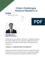 Spply Chn Challenges in E-commerce