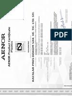 AENOR Product Certificate