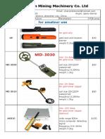 Detectors Price List