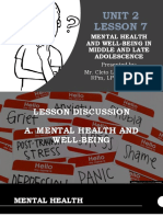 Mental Health andWell-being in Middle and Late Adolescence