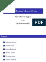 Apresentação em slides sobre Álgebra Booleana e Portas Lógicas