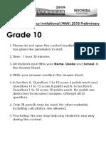 WMI 2018 Prelim G10