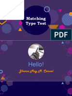 Checklist for Writing Matching Type Test
