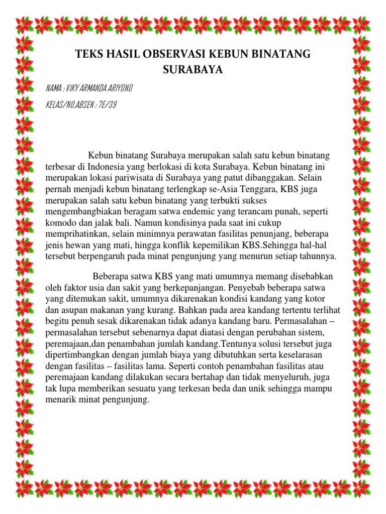 Teks Hasil Observasi Kebun Binatang Surabaya