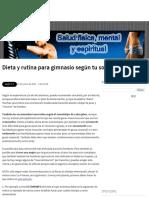 Dieta y rutina para gimnasio según tu somatotipo ~ Salud física, mental y espiritual