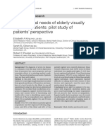Psychosocial Needs of Elderly Visually Impaired Patients Pilot Study of Patients Perspective