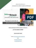 Síntesis semanal de noticias del sistema educativo michoacano, al 7 de octubre de 2019