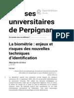 Un Monde Sous Surveillance _ - La Biométrie_ Enjeux Et Risques Des Nouvelles Techniques d'Identification - Presses Universitaires de Perpignan