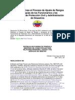 Normas Relativas Al Proceso de Ajuste de Rangos y Jerarquías de Los Funcionarios y Las Funcionarias de Protección Civil y Administración de Desastres