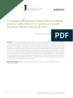 O Programa Para Reforma Educacional Na América Latina e Caribe (PREAL) e a Política e Formação Docente No Brasil Na Década de 1990