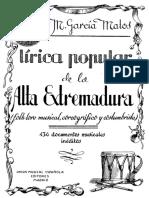 Lírica popular de la alta extremadura - Folklore musical, coreográfico y costumbrista- M. García Matos
