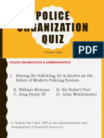 Police Organization Quiz