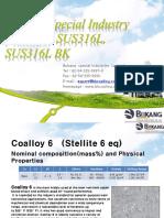 Bukang Special Industry - Coalloy6, SUS316L, SUS316L BK (20180726)