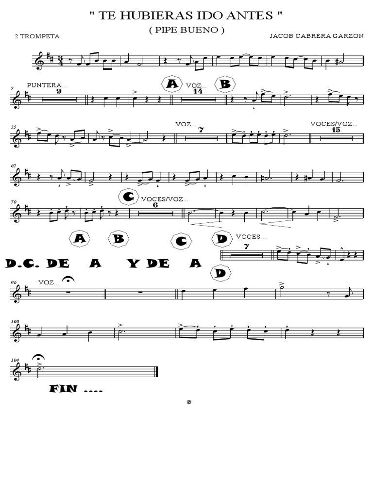 Te Hubieras Ido Antes Trumpet In Bb 2 Pdf