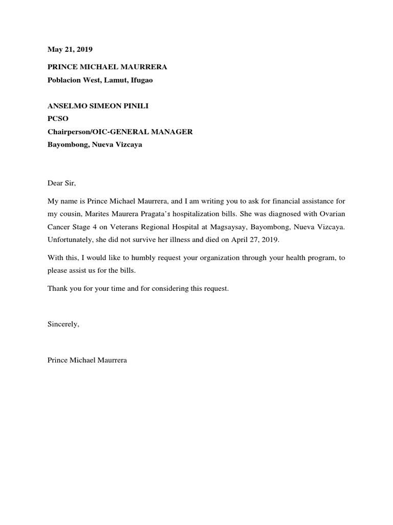Financial Assistance For Medical Bills Sample Letter from imgv2-1-f.scribdassets.com