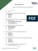 Biotechnology Quiz Key