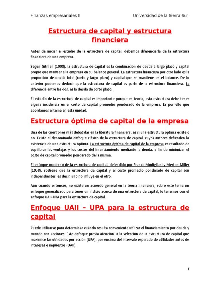 Estructura De Capital Participación Finanzas Capital