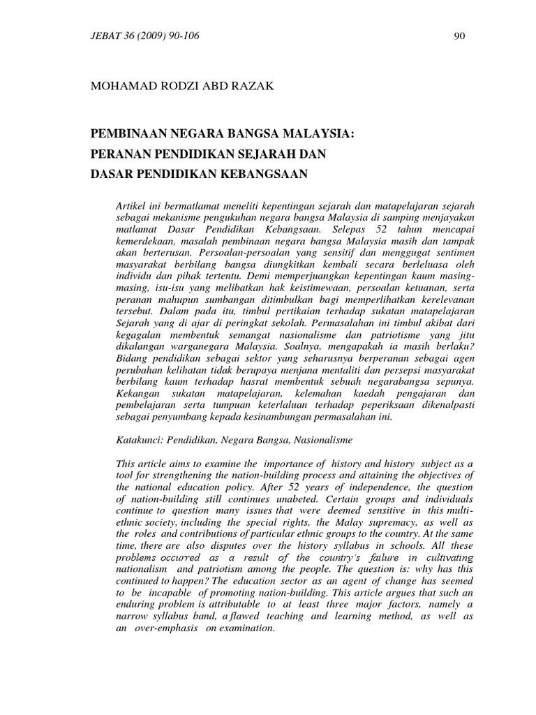 Pembinaan Negara Bangsa Malaysia Peranan Pendidikan Sejarah Dan Dasar Pendidikan Kebangsaan