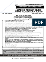 Allen 2018 leader test series Q paper