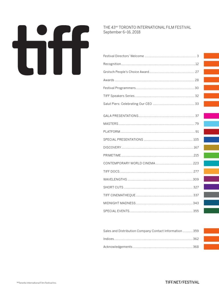 Tiff Prog Book 2018 Toronto Cinéma