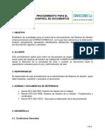 Procedimiento Para El Control de Los Documentos CONFECCIONES SA