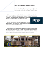 Fundacion de La Villa de Santa Maria de Cañete