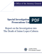 Attorney General's Report on Death of Jaime Lopez-cabrera