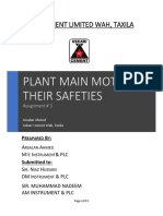 Plant Main Motors Specification & Safeties