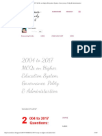 2004 to 2017 MCQs on Higher Education System, Governance, Polity & Administration