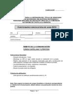 Cuestionario Del Ámbito de La Comunicación. Lengua Castellana y Literatura - Junio 2015