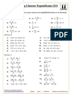 Algebra. Level 7. Equations. Solving Linear Equations (D) (1)