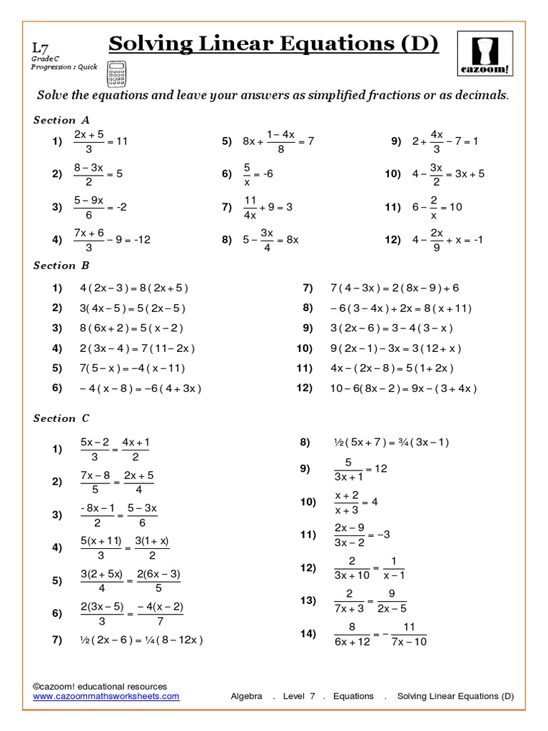 Fastest Solving Linear Equations Pdf Intended For Solving Linear Equations Worksheet Pdf