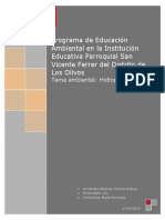 Programa de Educación Ambiental Con El Tema Hidroponía en La Institución Educativa Parroquial San Vicente Ferrer Del Distrito de Los Olivos